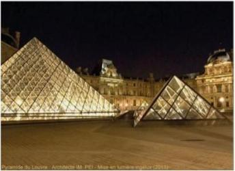 Éclairage des façades du Musée et de la Pyramide du Louvre